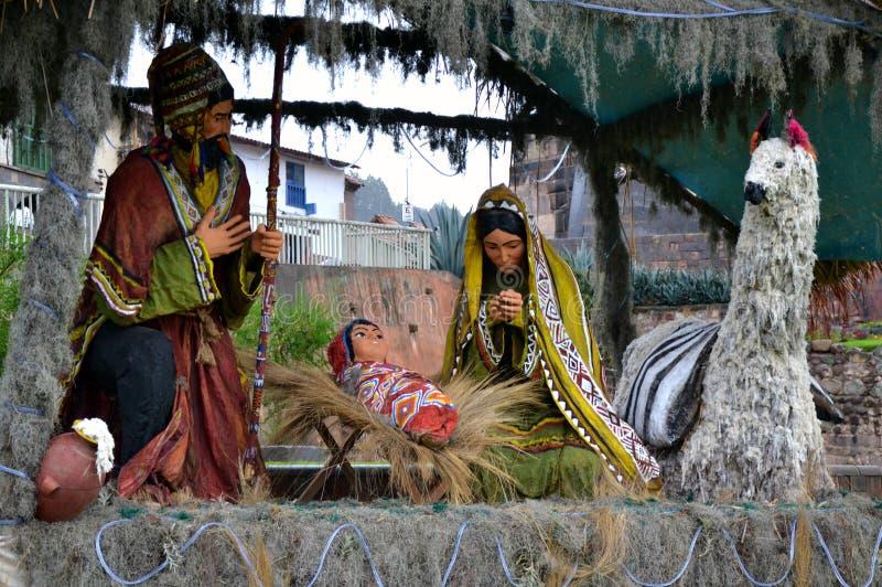 Scène péruvienne de nativité images stock