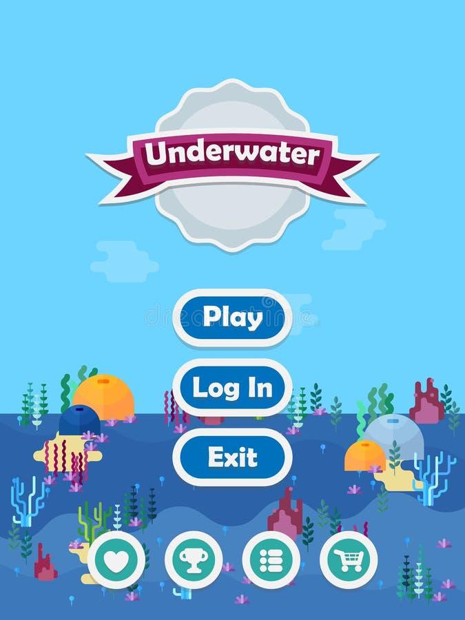 Scène plate de GUI d'océan illustration stock