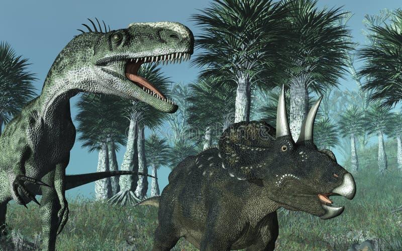 Scène préhistorique avec des dinosaurs illustration de vecteur
