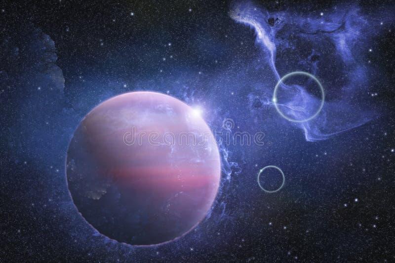 Scène profonde d'espace extra-atmosphérique avec la nébuleuse et la belle planète illustration libre de droits