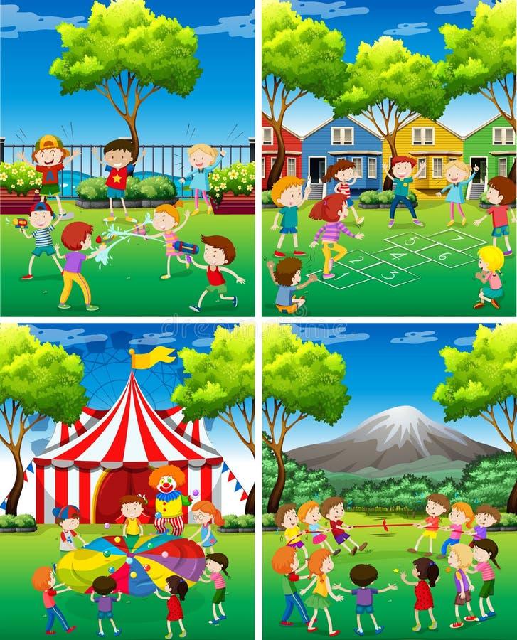 Scène quatre des enfants jouant en parc illustration libre de droits