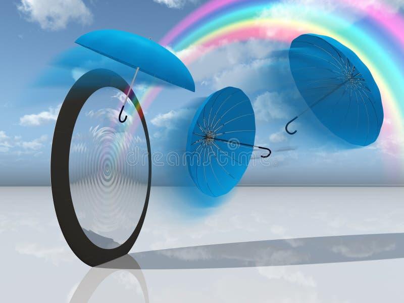 Scène rêveuse avec les parapluies et l'arc-en-ciel bleus illustration libre de droits