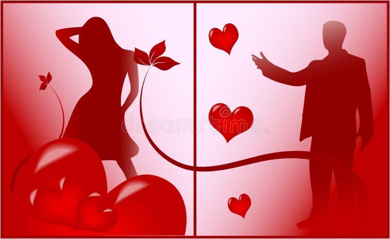 Scène romantique de l'amour illustration stock