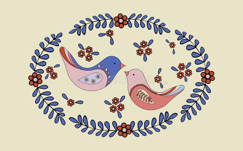 Scène romantique de ressort, une paire d'oiseaux d'amour construire un nid illustration stock