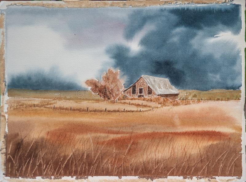 Scène rurale - peinture originale d'aquarelle d'une grange et d'un Wheatfield illustration de vecteur