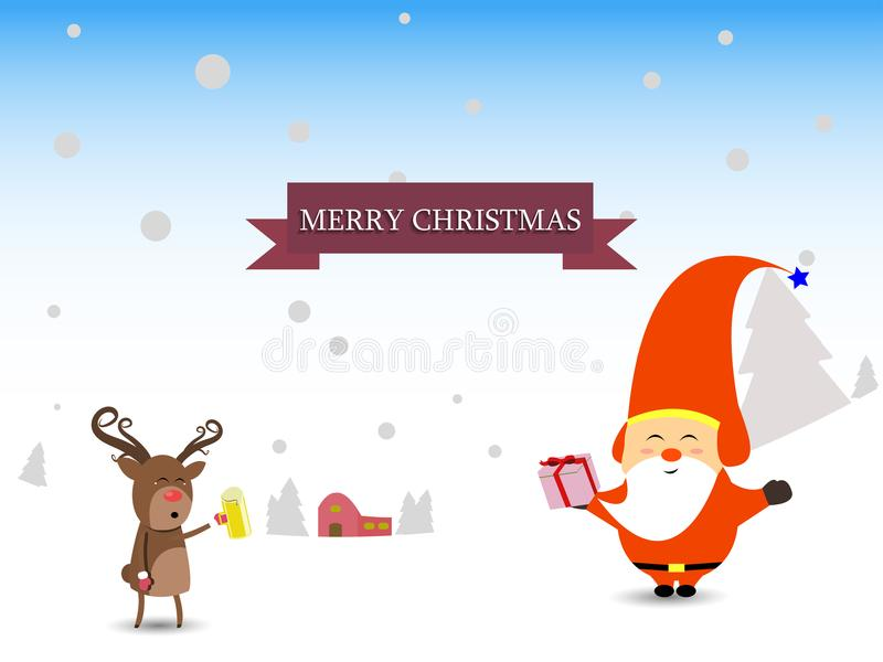 Scène Santa d'hiver de Joyeux Noël et de bonne année et carte de voeux de cadeaux de renne images stock