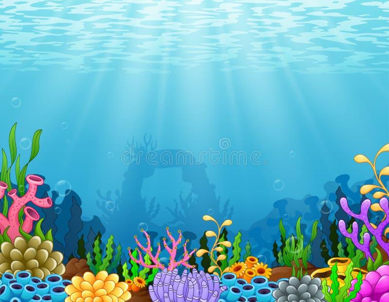 Scène sous-marine avec le récif coralien tropical illustration libre de droits