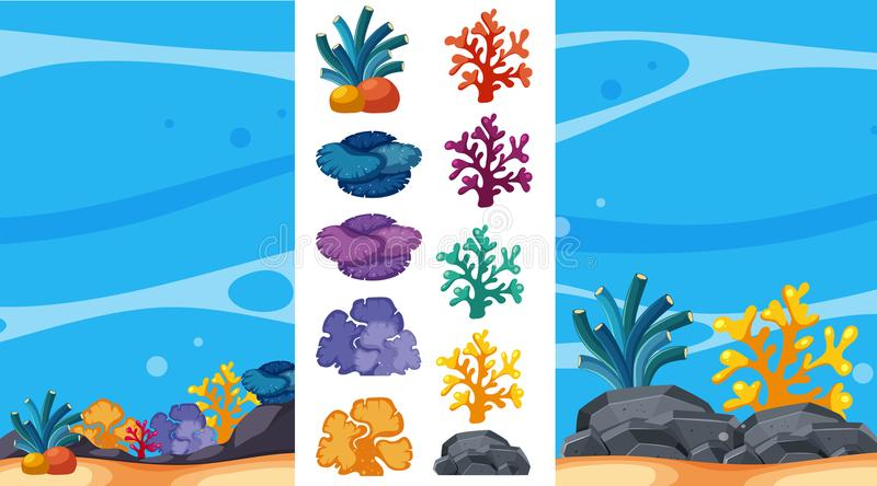 Scène sous-marine avec les récifs coraliens illustration libre de droits