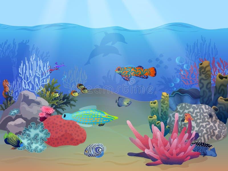 Scène sous-marine de paysage d'océan de mer avec les poissons exotiques colorés, les usines et le récif coralien illustration libre de droits