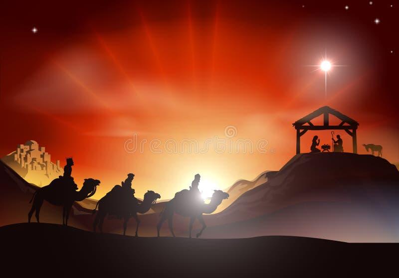Scène traditionnelle de nativité de Noël illustration libre de droits