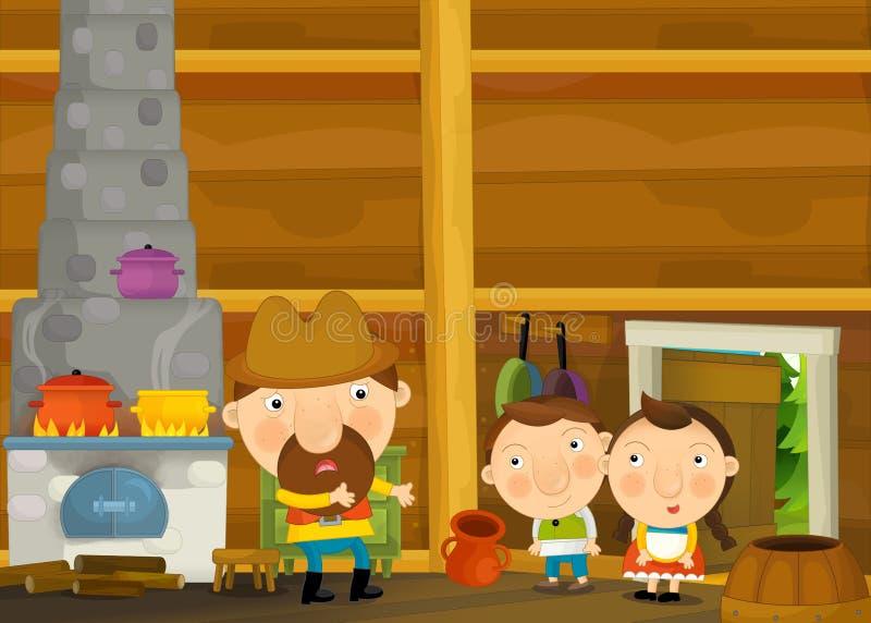 Download Scène Traditionnelle Heureuse Et Drôle De Bande Dessinée Avec La Famille Dans La Vieille Maison Illustration Stock - Illustration du intérieur, cuisinier: 77162372