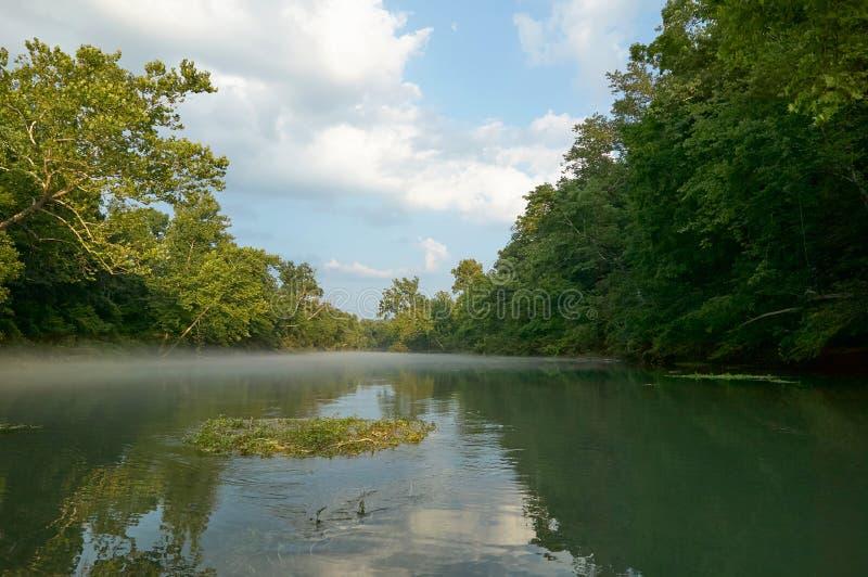 Scène tranquille de rivière brumeuse image libre de droits