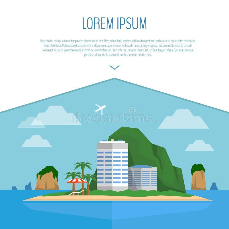 Scène tropicale d'île Plage, hôtel, paume, parapluie de plage et ch illustration libre de droits