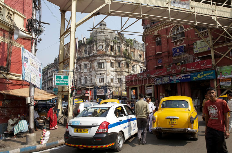 Scène urbaine dans la rue, Kolkata, Inde photographie stock