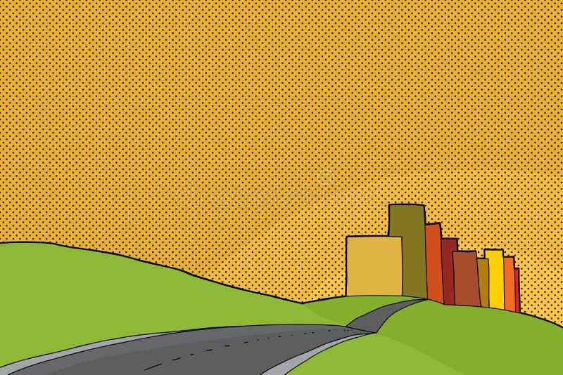 Scène urbaine de coucher du soleil illustration de vecteur