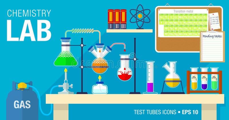 Scène van chemisch laboratorium met een experiment in proces op de lijst vector illustratie
