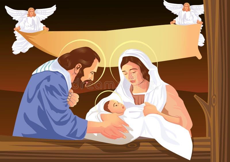 Scène van de Kerstmis de Christelijke geboorte van Christus met baby Jesus en engelen royalty-vrije illustratie