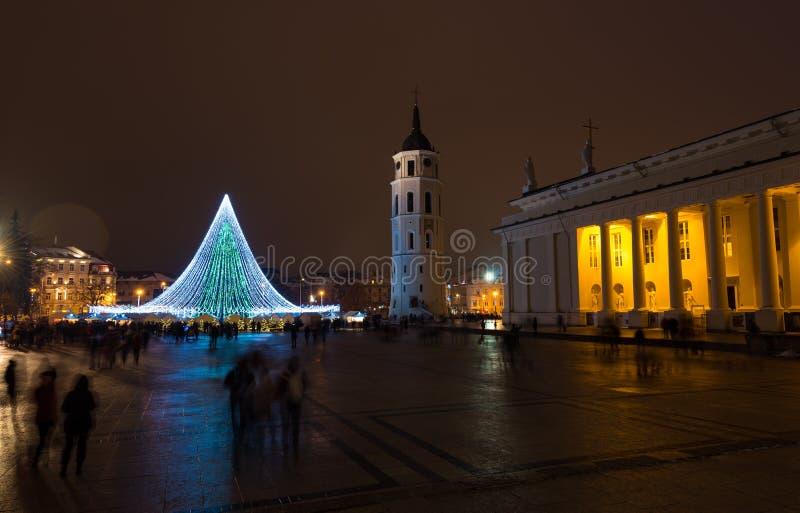 Scène van de Kerstmisnacht van de Vilniuskathedraal de vierkante stock afbeeldingen