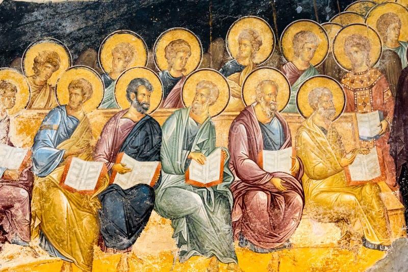 Scène van de oordeeldag, het oude fresko schilderen stock foto