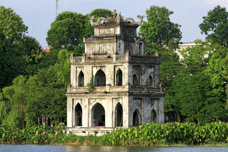 Scène van de Toren van de Schildpad, Hanoi stock foto's