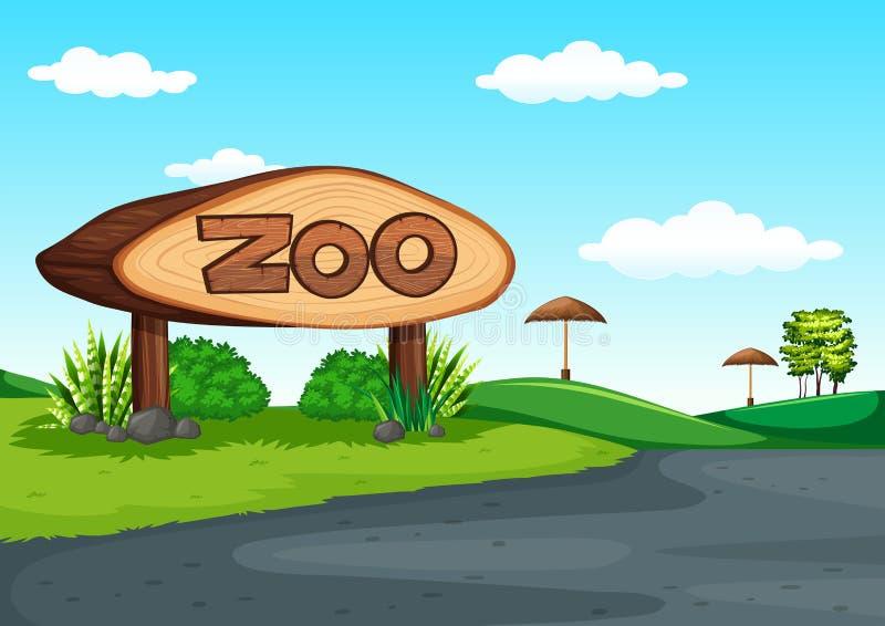 Scène van dierentuin zonder dier stock illustratie