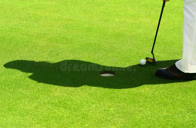 Scène van golf en silhouet stock afbeeldingen