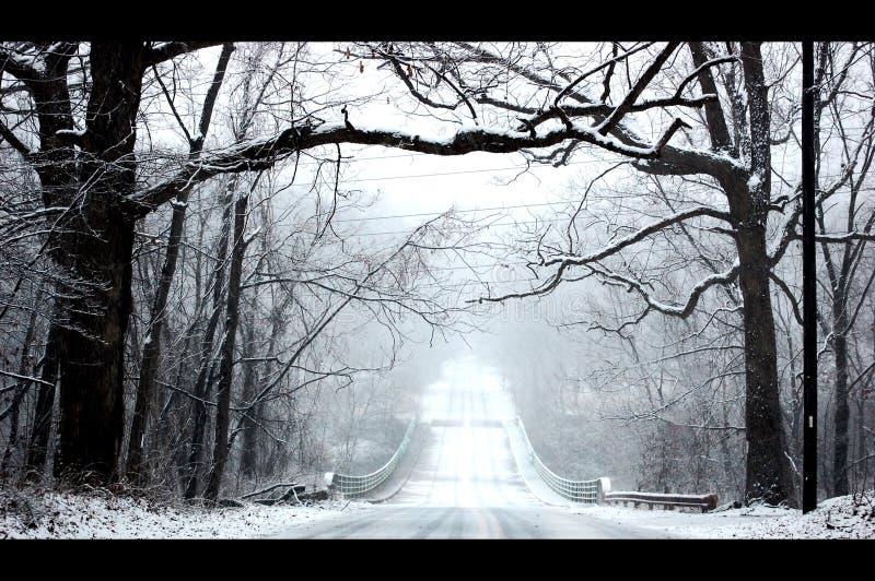 Scène van het de Weglandschap van de de wintersneeuw de Koude stock afbeelding