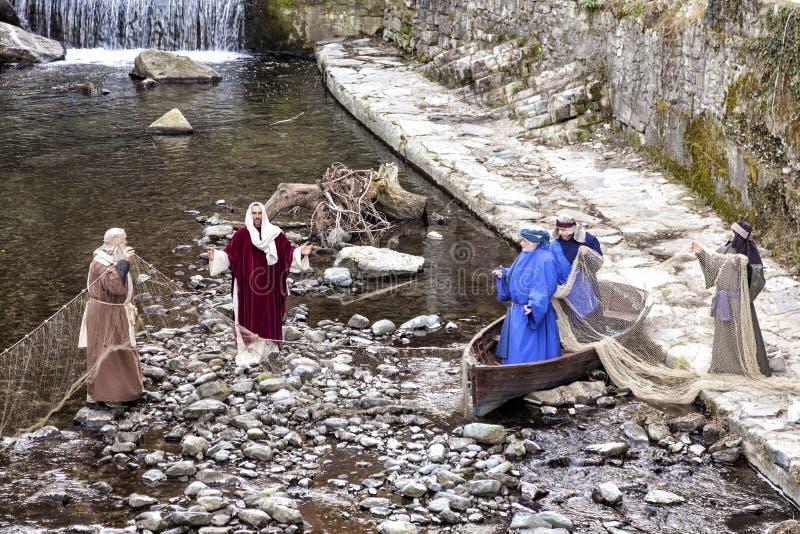 Scène van het leven van Jesus De Wonderbare Vangst van Vissen royalty-vrije stock foto