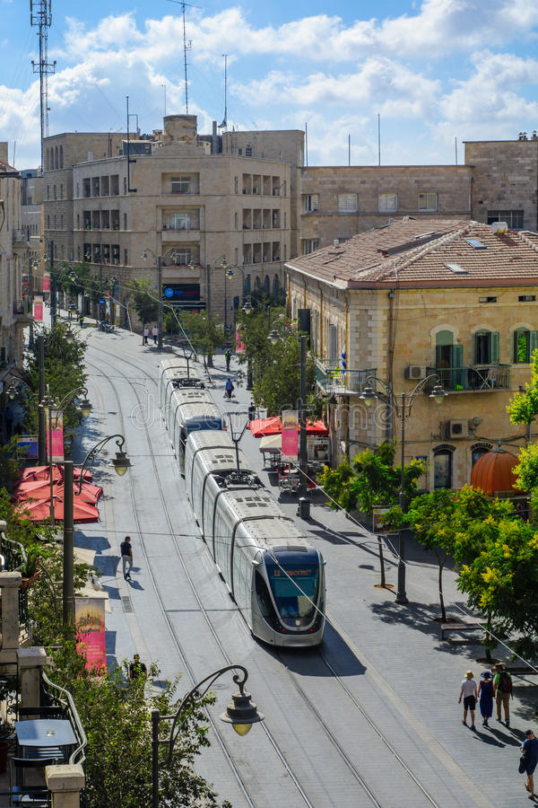 Scène van Yafo-Straat, Jeruzalem royalty-vrije stock afbeelding