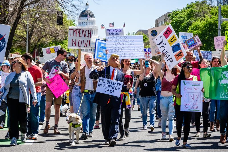 Scène vanaf Maart voor Wetenschap 2018 die in Sacramento, Californië plaatsvinden stock foto