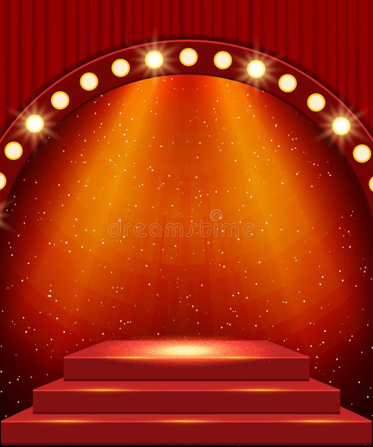 Scène vide avec podium et rideau rouge Conception pour la présentation, le concert, le spectacle image libre de droits