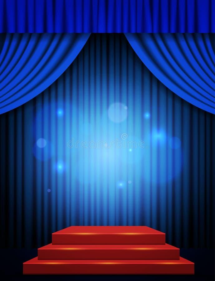 Scène vide avec podium rouge et rideau bleu photographie stock libre de droits
