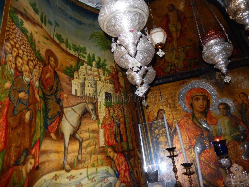 SCÈNES BIBLIQUES, CHAPELLE COPTE, ÉGLISE DE LA TOMBE SAINTE, JÉRUSALEM images stock