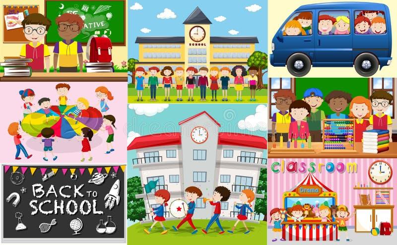 Scènes d'école avec des étudiants et des salles de classe illustration libre de droits