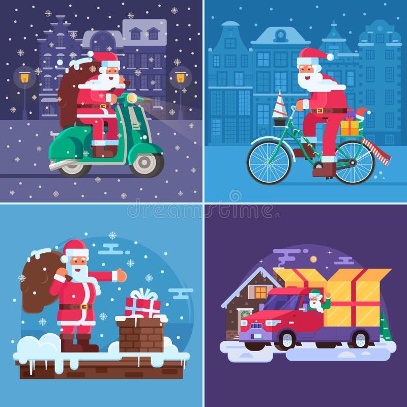 Scènes de concept de la livraison de cadeau de Noël illustration stock