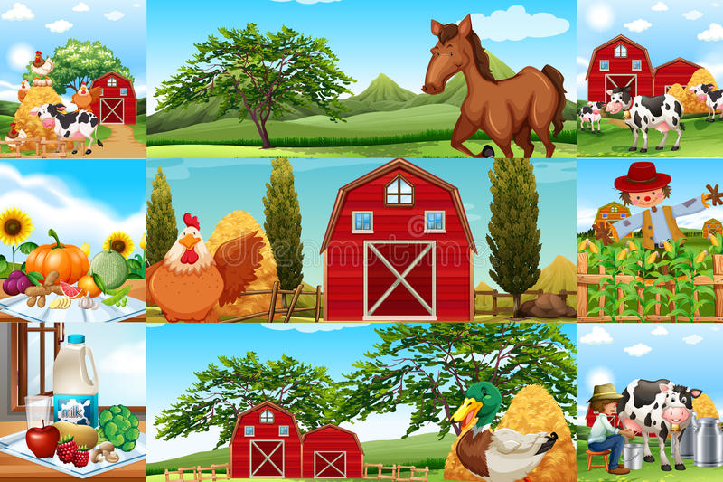 Scènes de ferme avec beaucoup d'animaux et d'agriculteurs illustration stock