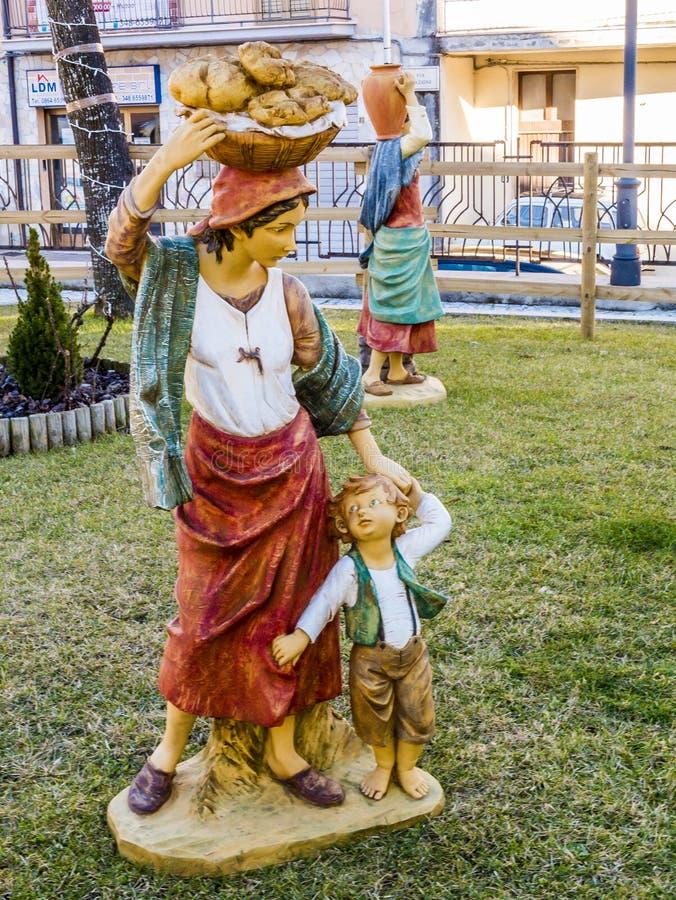 Scènes de Noël de nativité de figurine de Baker photographie stock libre de droits