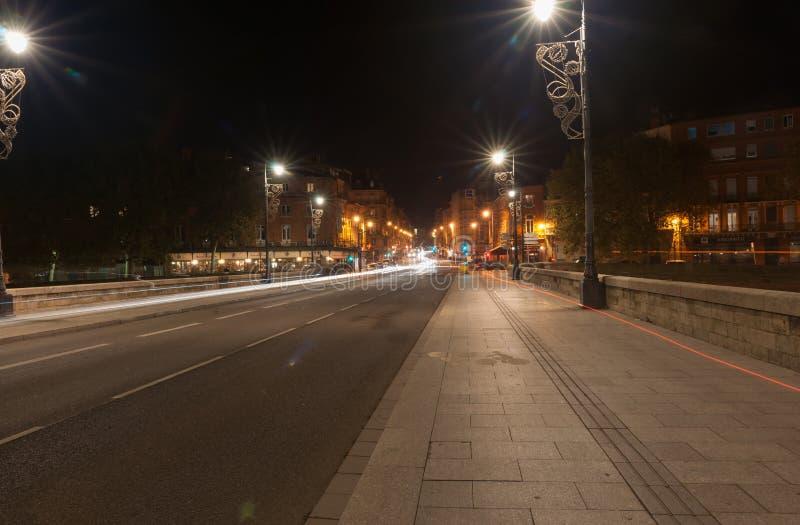 Scènes de nuit d'archtitecture, de ponts et de rues de Toulouse photo stock