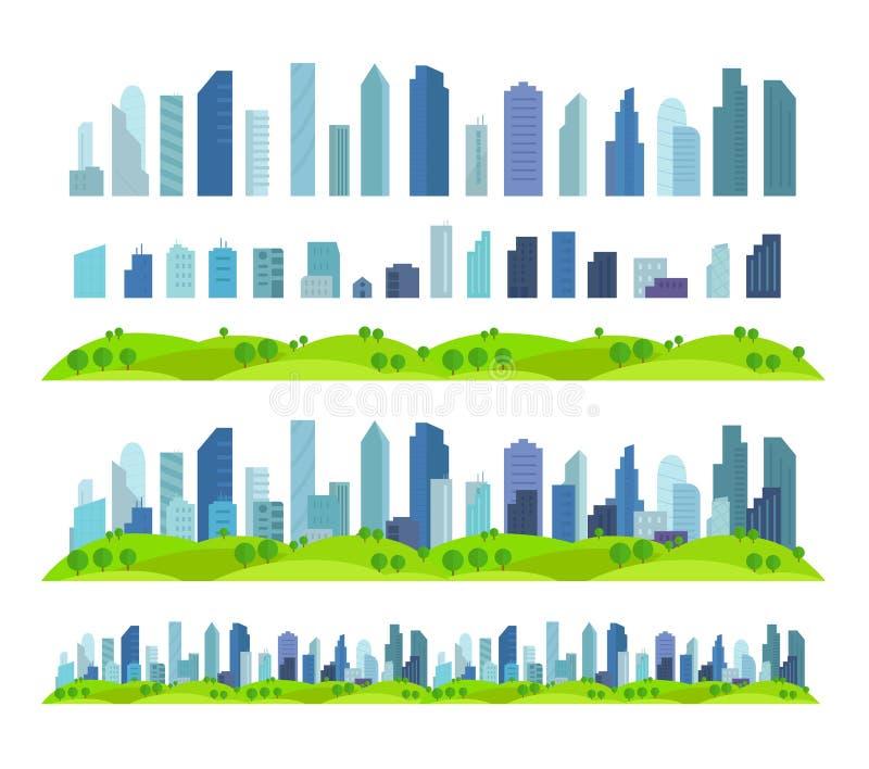 Scènes distinctes architecture et paysage de ville d'effet de parallaxe de futur gratte-ciel prêt de bâtiment illustration de vecteur