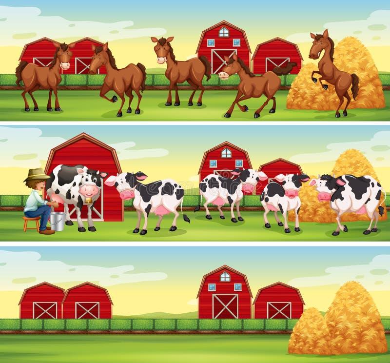 Scènes in het landbouwbedrijf met landbouwer en dieren royalty-vrije illustratie