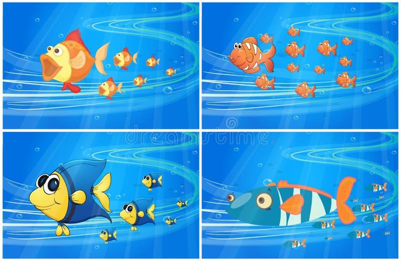 Scènes met vissen onder het water royalty-vrije illustratie
