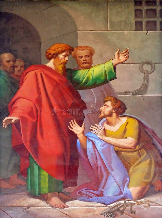 Scènes van het leven van St Paul: Omzetting van de Gevangenbewaarder stock fotografie