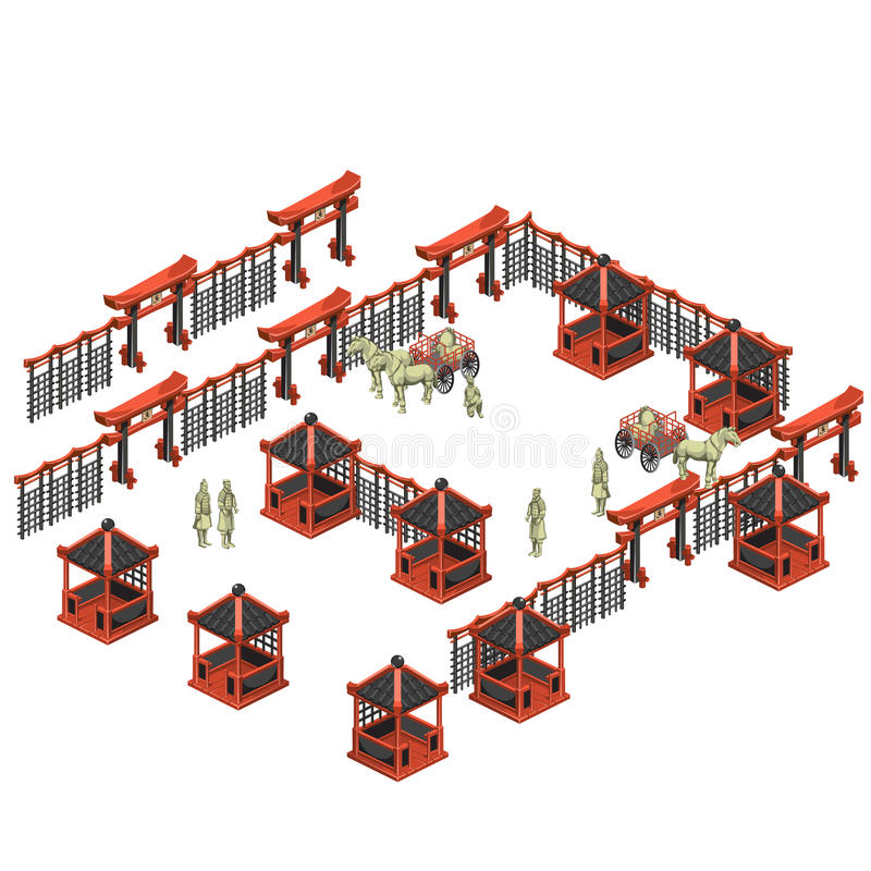 Scèneschepper, Chinese paviljoenen, militairen, karren stock illustratie