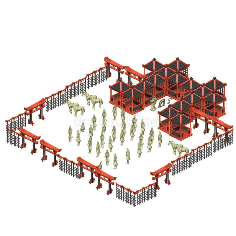 Scèneschepper, de Oosterse bouw en legermilitairen stock illustratie