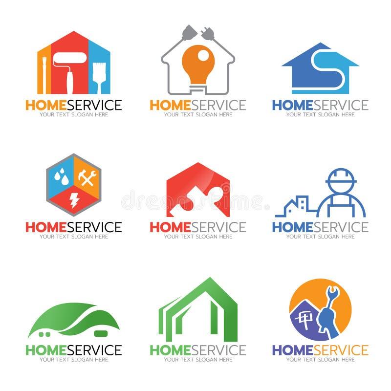 Scénographie à la maison d'illustration de logo de service et de réparation illustration de vecteur