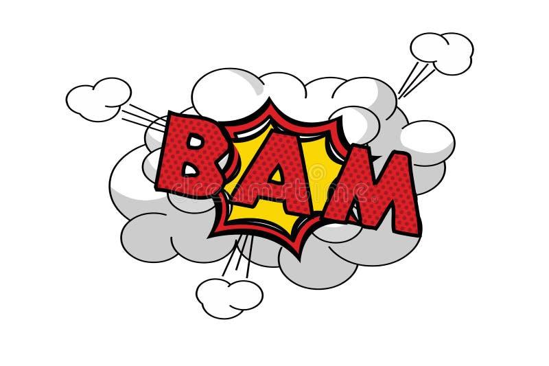 Sc?nographie d'effet sonore de mot de bam sur le fond blanc illustration de vecteur