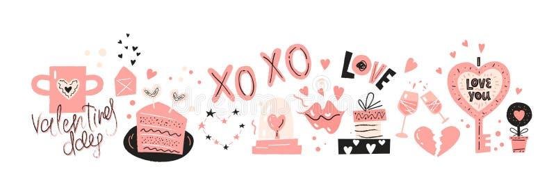 Scénographie d'icônes de jour de valentines avec les éléments tirés par la main illustration de vecteur