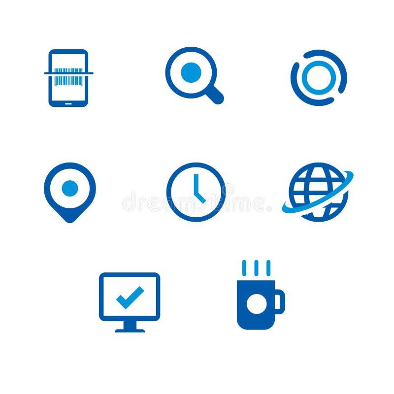 Scénographie d'icônes de technologie de l'information illustration stock