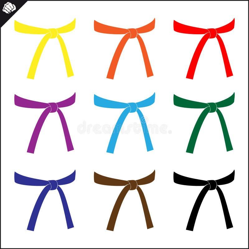 Scénographie de ceintures colorées d'art martial Emblème de karaté illustration libre de droits