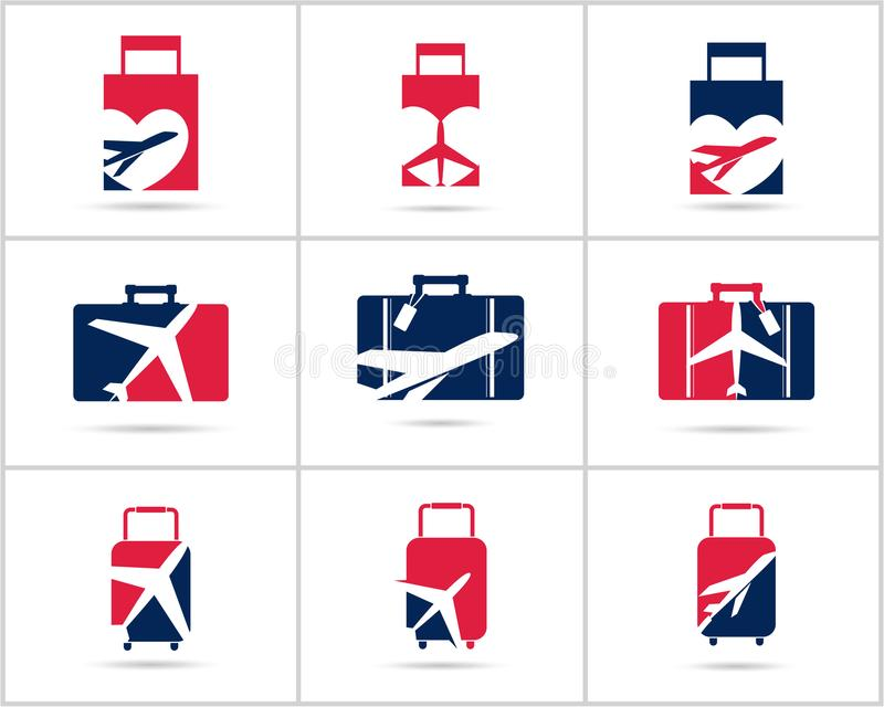 Scénographie de logos de voyage L'agence de vente de billets et le tourisme dirigent les icônes, l'avion dans le sac et le globe  illustration libre de droits
